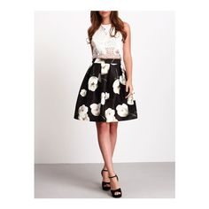 SheIn(sheinside) Black High Waist Floral Flare Skirt ($18) ❤ liked on Polyvore featuring skirts, black, skater skirts, high waist skirt, high waisted skater skirt, short circle skirt and short floral skirt