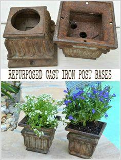 Use an old cast iron post base as a garden planter or tea light holder - MySalvagedTreasures.com
