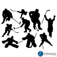 hockey decal, hockey decor, hockey art, hockey wall decal, set of 9 hockey players vinyl decal. 23.0h x 31.0w, D00125.
