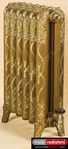 Picadilly Cast Iron Radiator. Finish - Antique Gold with Gold Highlight
