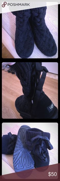 Ugg Black Lace-Up Sweater Boots Super cute, size 9, worn once, black sweater Ugg boots. Fur lined with a black ribbon tie up the back. UGG Shoes Winter & Rain Boots