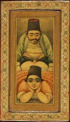 Ερωτική περίπτυξη ομοφυλόφιλων, ζωγραφική σε ξύλινη επιφάνεια.