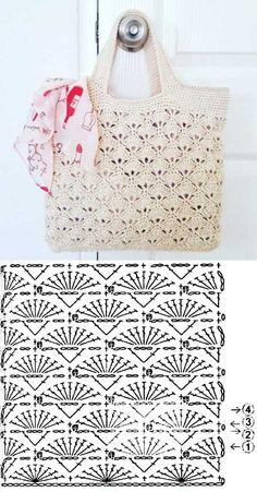Knit (or crochet) a bag. Would be nice for a reserved weekend or a vacation bag. - Fashionable bags - Escolha e copy: Modelos de Bolsa summer bag ⋆ De Frente Para O Mar. Learn to crochet Christmas tr - Crochet Market Bag, Crochet Handbags, Crochet Purses, Knit Or Crochet, Crochet Summer, Crochet Diagram, Crochet Chart, Crochet Bag Tutorials, Crochet Projects