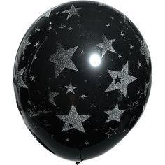 Silver Glitter Stars on Black Latex BalloonsA Night Under the Stars Prom Decorations