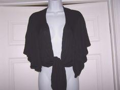 Olivia-Moon-Women-039-s-L-Bolero-Knit-Sweater-Short-Sleeve-Ties-In-Front
