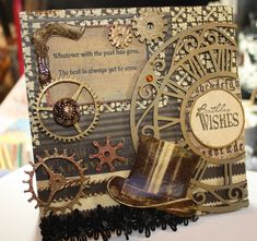 Steampunk style birthday card.  WHAT?? (*love* this!)  Would love to make this for a friend who enjoys steampunk