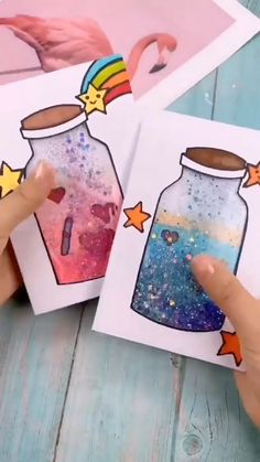 Paper Crafts Origami, Diy Crafts For Gifts, Paper Crafts For Kids, Diy Arts And Crafts, Jar Crafts, Creative Crafts, Preschool Crafts, Creations, Diy Videos