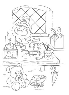 Printable Christmas coloring page of an elf and toy shlef ...