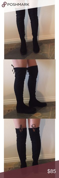 Black over the knee boots Black over the knee boots. Sueded material with stretch. Inner zipper and adjustable tie at the top of boot. Brand new, never worn. Unisa Shoes Over the Knee Boots
