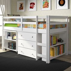 This twin low loft bed with storage is a great space saver.  All you need for each child neatly tucked under the low loft.  See all low loft beds at Bunk Beds Bunker.