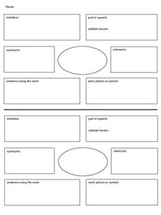Vocabulary Study - Graphic Organizer A graphic organizer I have created for my students to use for vocabulary study. Vocabulary Strategies, Vocabulary Instruction, Academic Vocabulary, Teaching Vocabulary, Teaching Language Arts, Vocabulary Activities, Reading Strategies, Teaching Reading, Speech And Language