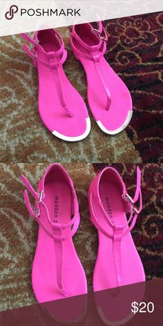 Madden Girl sandals Hot pink sandals with gold accents. Two adjustable straps. Worn once Madden Girl Shoes Sandals