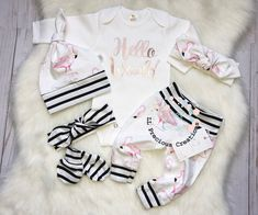 Newborn Coming Home Outfit Baby Girl Clothes Hello World Little Sister Pink Flamingoes Outfit No Scratch Mitts Rose gold - - Newborn Coming Home Outfit, Girls Coming Home Outfit, Fotos Baby Shower, Flamingo Outfit, Baby Kids, Baby Boy, Cute Baby Clothes, Baby Girl Fashion, Little Sisters