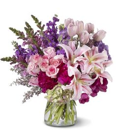Pink roses, snapdragons, Oriental lilies and heather, pink tulips, hydrangea- this is so beautiful