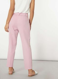 Womens Pink Stripe Tapered Leg Trousers- Multi