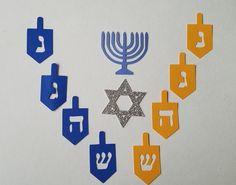 Hanukkah Decorations, Table Confetti, Jewish Art, Menorah, Star Of David, Holiday Parties, Card Stock, Card Making, Kids Rugs