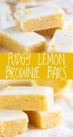 These Fudgy Lemon Brownie Bars have the fudgy, chewy brownie texture that you love, but with a bright and fresh summer twist. Lemon Dessert Recipes, Lemon Recipes, Baking Recipes, Healthy Lemon Desserts, Dinner Recipes, Lemon Cake Bars, Easy Lemon Bars, Lemony Lemon Brownies, Lemon Cupcakes