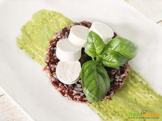 Insalata di Riso Rosso con Emulsione di Rucola e Basilico e Primo Sale (anche versione Vegan)  #ricette #food #recipes