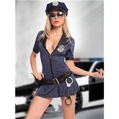 コスプレ コスチューム ポリス ミニスカポリス 警官 制服 仮装 コスプレ コスチューム衣装 ミニスカート wb048 紺 青大人 大きいサイズ - 拡大画像