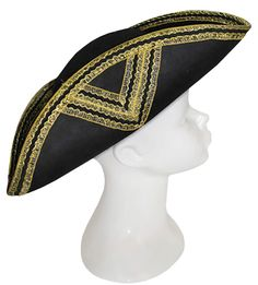 Black and Gold Tricorn Hat