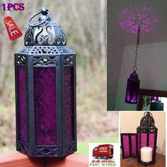 Purple Glass Lantern Hexagon Hanging Candle Holder Light Moroccan Vintage Patio…