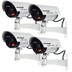 Masione Dummy Camera 4 Pack Outdoor Fake/Dummy Security Camera w/Blinking Light CCTV Surveillance (Silver) ** Read more at the image link. (This is an affiliate link) Cctv Surveillance, Security Surveillance, Security Alarm, Safety And Security, Video Security, Security Service, Customer Service, Home Security Tips, Wireless Home Security Systems