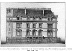 The R. Fulton Cutting residence designed by Ernest Flagg c. 1898 at 24 East 67th Street at the corner of Madison Avenue in New York City.