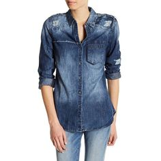 True Religion Georgia Distressed Relaxed Denim Shirt ($65) ❤ liked on Polyvore featuring tops, indigo, blue button up shirt, denim button down shirt, denim long sleeve shirt, long sleeve button down shirts and button up shirts