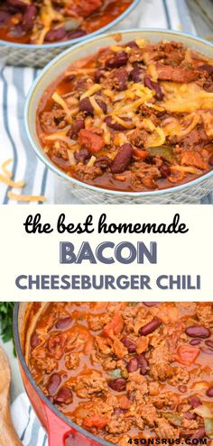 Bacon cheeseburger chili combines all the flavors of two classic comfort foods into one yummy dish. This hearty recipe will be an instant favorite for all burger and chili lovers! #chili #homemade #recipe #dinner
