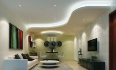 Ceiling lowered over eating and TV area.