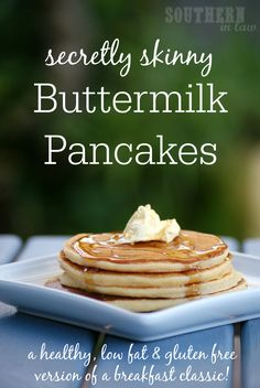 A breakfast classic got a healthy makeover! This Secretly Skinny Buttermilk Pancakes Recipe is low fat, gluten free, refined sugar free, low sugar, freezer friendly and absolutely delicious! Best of all - it will take you just minutes to make! A great make ahead breakfast or breakfast/brunch party recipe!