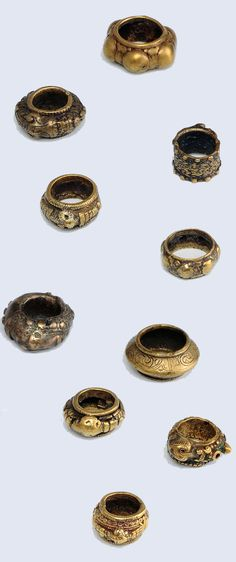 Indonesia ~ Batak Toba   Ten men's rings; bronze   19th century or earlier.     Source; Ethnic Jewellery from Indonesia: Continuity and Evolution. Bruce W Carpenter. Pg 63