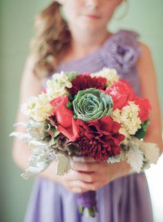 Colorful flower girl bouquet: http://www.stylemepretty.com/2015/02/09/colorful-fall-bear-flag-farm-wedding/   Photography: Elizabeth Messina - https://instagram.com/elizabethmessina/
