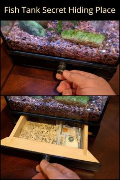 How cool is this DIY secret storage under a fish tank?