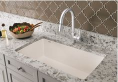 Super Single Undermount Kitchen Sink Bring your kitchen into the century with this large undermount sink from Blanco. Constructed of a patented granite composite, this sink is resistant to scratches and stains and heat resistant up to F. Kitchen Sink Faucets, Top Kitchen Trends, Blanco Silgranit, Kitchen Trends, Composite Kitchen Sinks, Kitchen Remodel, New Kitchen, Sink Faucets, Single Bowl Kitchen Sink