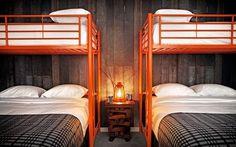Basecamp Hotel; Lake Tahoe; Gardenista. Twin bunkbeds above queens.