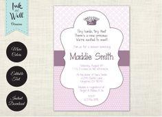 EDITABLE Princess Baby Shower Invitation - girl, purple, lavender, pink, Tiffany blue, crown, royal, digital file, printable