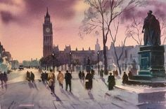 """""""Westminster, London"""" watercolour by Trevor Waugh"""