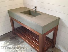 concrete bathroom sink  with poolhouse sink