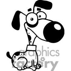 Black and white cute cartoon Dog