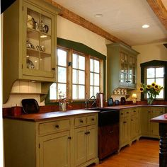 Louis 7 Green Kitchen Bar Vanity david smith workshops corbel and dish rails under upper cabinets Green Kitchen, Kitchen Redo, Rustic Kitchen, New Kitchen, Kitchen Dining, Kitchen Ideas, Cheap Kitchen, Kitchen Makeovers, Primitive Kitchen Cabinets