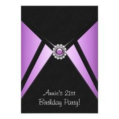 Purple Black 21st Birthday Party Invitation