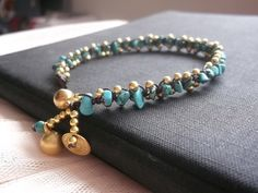 Thailand Handmade gold brass turquoise nugget stone valentine Anklet on Etsy, ฿255.59
