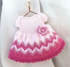 Miniature hand-knitted Pink Dress with crochet flower for inches doll/ Dollhouse clothes, miniature doll clothing by AnnaToys on Etsy Knitting Dolls Clothes, Doll Clothes Patterns, Crochet Clothes, Knitted Bunnies, Knitted Dolls, Beau Crochet, Knit Crochet, Little Cotton Rabbits, Mini Robes