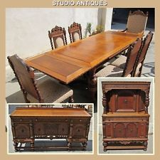 OAK DINING SET Vintage TABLE + CHAIRS Buffet COURT CUPBOARD Jacobean BURL  WALNUT