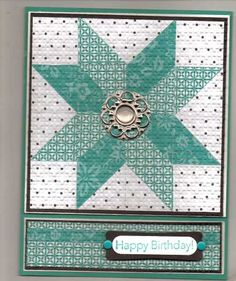 Ohio Star- I have a Stampin' Up! Embellishment that would make this a beautiful Christmas Card!