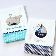 This will make the perfect set for a gift. This adorable set includes 2 custom-made and personalized baby burb cloths with nautical appliques. The burp cloths are high quality 6-ply diaper cloths. Fab