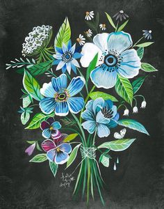 Artist Katie Daisy captures the magic & beauty of a life lived in harmony with nature. Canvas Wall Art, Wall Art Prints, Daisy Art, Acrylic Artwork, Floral Wall Art, Inspirational Wall Art, Flower Art, Wild Flowers, Illustration