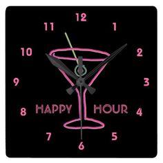 Neon Sign Retro Martini Customizable Wall Clock