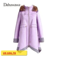 Dabuwawa Purple Winter Real Fur Coat For Women Casual Warm Cotton Coats Hooded Outwear Parkas Female